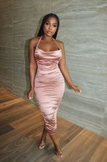 Sexy Halter Backless Ruched Midi Dress YH-5230