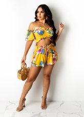 Fashion Sexy Printed Short Sleeve Shorts Two Piece Sets WY-6816