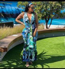 Fashion Sexy Sleeveless V-neck Print Long Dress WY-6822