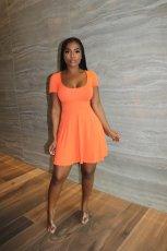 Solid Short Sleeve High Waist Mini Dress MN-9311