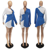 Elegant Contrast Color Long Sleeve Buttons Mini Dress WSM-5258