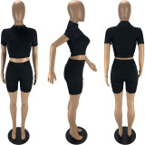 Solid Short Sleeve Tight Two Piece Shorts Set MN-9312