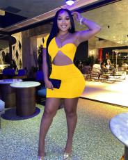 Sexy Solid One Shoulder Slim Mini Dress FENF-161