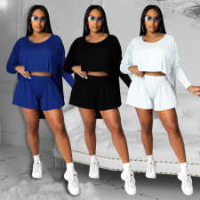 Solid Color Round Neck Long Sleeve Top Shorts Casual Suit MQXF-2338