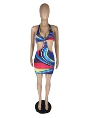 Sexy Printed Halter Hollow Out Mini Dress LWDF-8836