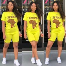 AFRICK Map Print Casual Two Piece Shorts Set LWDF-8842