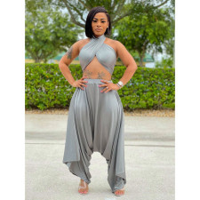 Sexy Solid Off Shoulder Wrap Chest Crop Top LM-8262