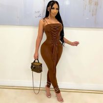 Sexy Solid Lace-Up Sleeveless Slim Jumpsuit JPF-1050