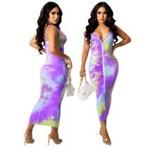 Printed Zipper Fashion Sexy Dress SZF-8135