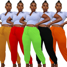 Plus Size Solid Casual Long Pants YPKF-Y821