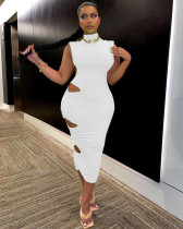 Solid Shoulder Pads Sleeveless Hole Maxi Dress WY-6809