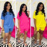 Casual Solid T Shirt And Shorts Two Piece Suits TMF-80049