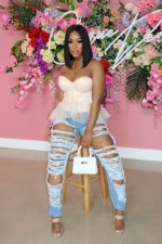 Plus Size Denim Ripped Hole Casual Jeans Pants LX-3002