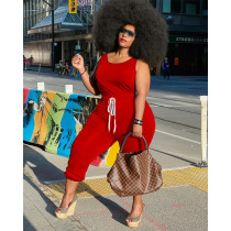 Plus Size Solid Color Sleeveless Drawstring Casual Jumpsuit YHDF-60046