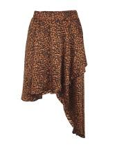 Leopard Print Irregular Midi Skirt LM-8266