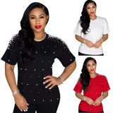 Plus Size Solid Pearls Beading O Neck T Shirt PIN-8601