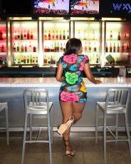Flower Print Sexy Mesh Short Sleeve Club Dress SMXF-9616