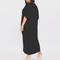 Solid Color Casual Plus Size Dress CYA-1623