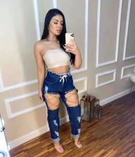 Plus Size Denim Ripped Hole Straight Jeans Pants LSL-6456
