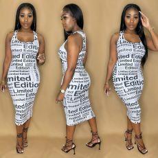 Letter Print Sleeveless Midi Dress YAOF-80050