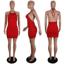 Sexy Red Halter Backless Mini Dress LSL-6457