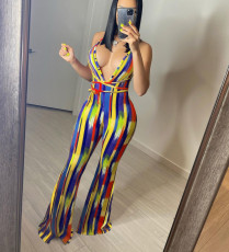 Sexy Printed V Neck Backless Flare Jumpsuit YD-8370
