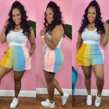 Rainbow Striped Casual Shorts CQ-133