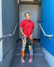 Printed Fashion Pocket Hem Slit Pants BNNF-9639