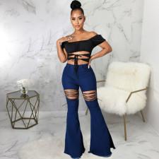 Plus Size Lace-up Denim Slim-fit Flared Pants HSF-2567
