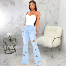 Plus Size Fashion All-match Slim Butterfly Embroidered Flare Jeans HSF-2334