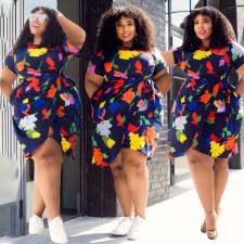 Plus Size Short Sleeve Sashes Print Dress LLF-88698