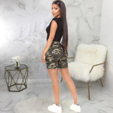 Plus Size Fashion Ripped High Waist Denim Shorts HSF-2466