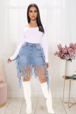 Plus Size Denim Tassel Bodycon Skirt LX-3501
