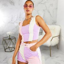 Plus Size Fashion Trend Multicolor Spliced Denim Shorts HSF-2464