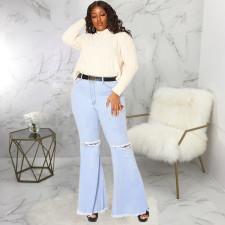 Plus Size Fashion Ripped Denim Flared Pants HSF-2417