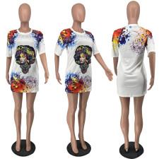 Casual Printed Short Sleeve T-Shirt Dress BNNF-9606