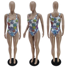 Sexy Printed One-Piece Swimsuit YNB-7188