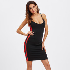 Sexy Side Striped Spaghetti Strap Midi Dress SH-390164