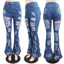 Plus Size Denim Ripped Hole Jeans Pants LX-6902