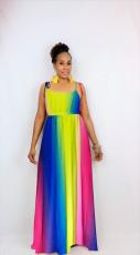 Sexy Fashion Color Striped Sling Long Dress ZMDF-z9111