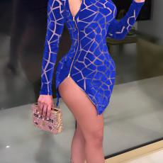Sexy Long Sleeve Zipper Slim Mini Dress SH-390161