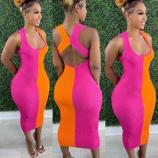 Color Block Backless Maxi Dress LFDF-7009