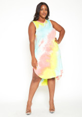 Plus Size Tie Dye Sleeveless Irregular Pocket Midi Dress YBSF-86721