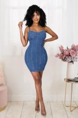 Plus Size Denim High Waist Bodycon Dress LX-3005