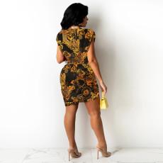 Tie Dye Print Sleeveless Irregular Mini Skirt 2 Piece Sets TE-4313