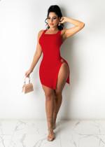 Plus Size Solid Sexy Sleeveless Split Mini Dress OM-1230-1