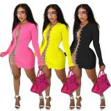 Sexy Solid Long Sleeve Chain Mini Dress YD-1061