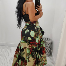 Leaf Print High Waist Sashes Midi Skirt TE-4305