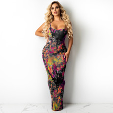 Sexy Printed Backless Cross Strap Maxi Dress TE-4309