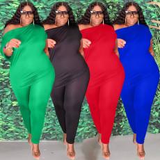 Plus Size Solid Oblique Shoulder 2 Piece Pants Set YFS-10015